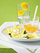 Dandelion salad with buffalo mozzarella and dandelion flower jelly