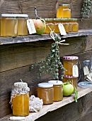 Apple jelly in preserving jars