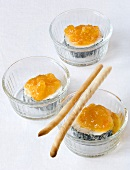 Goats' cream cheese with mandarin marmalade and grissini