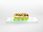 French toast, fried cauliflower and green almonds (molecular gastronomy)