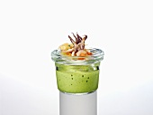 Basil lassi with calamares and madras curry