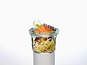 Glass noodles with passionfruit vinaigrette and salmon sashimi