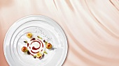Buttermilk lassi with cherries (molecular gastronomy)