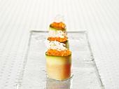 Irish char pralines with sour cream and cucumber
