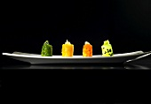 Small vegetable sensory canapes (molecular gastronomy)