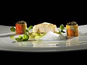 Sturgeon, water cress, coffee caviar (molecular gastronomy)