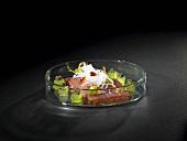 Smoked tuna, hot radish jelly, ginger, soy caviar (molecular gastronomy)