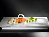 Salmon, hot apple jelly, curry sabayon (molecular gastronomy)