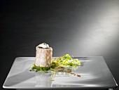Goose liver, lobster, vanilla foam, pea sprouts (molecular gastronomy)