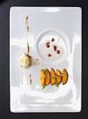 Wild peaches, almond milk, chicory, pomegranate oil (molecular gastronomy)