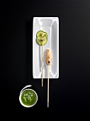 Norway lobster, courgette fried in water (molecular gastronomy)