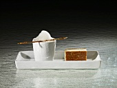Warm honey-almond cake, sour honey tea (molecular gastronomy)