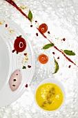 Passionfruit sabayon, raspberry caviar, sage (molecular gastronomy)