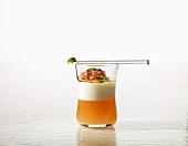 Tomato essence, goats' milk, pesto (molecular gastronomy)