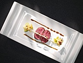 Saddle of venison and roasted argan oil (molecular gastronomy)