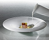 Sauerbraten, Rosinen, Kartoffel (Molekularküche)