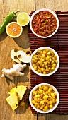 Ananaschutney. Apfelchutney, Orangenchutney