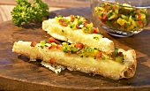 Grilled bread with cheese fondue and vegetable salsa