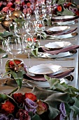 A festively decorated trestle table with flowers