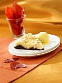 Chocolate apple tart with vanilla ice cream