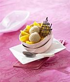 Cinnamon ice cream on orange fillets