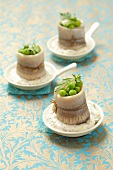 Herring roll mops with peas and remoulade for Christmas dinner