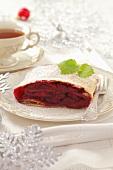 Cherry strudel and tea for Christmas