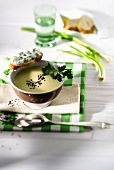 Potato cream soup with black caraway