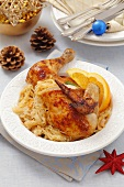 Chicken with oranges and sauerkraut for Christmas dinner