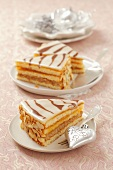 Three slices of Christmas marzipan tart