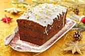 A spiced cake with plum jam for Christmas