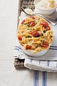 Maccaroni cheese bake with cherry tomatoes