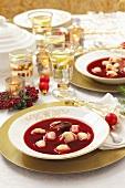 Borscht with Uszka (Polish stuffed dumplings) for Christmas dinner