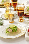 Salmon with peas in aspic for Christmas dinner