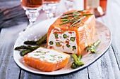 Smoked salmon terrine with cream cheese and asparagus