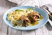 Saltimbocca with spaghetti