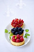 Raspberry, blackberry and redcurrant tartlets