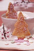 Christmas tree biscuits decorated with sugar