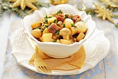 Potato salad with quails' eggs, mushrooms, capers, anchovies and a mayonnaise-soy sauce