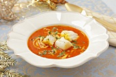 Tomato and fish soup with pasta