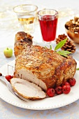 Roast pork with mini apples