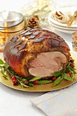 Roast ham for Christmas dinner