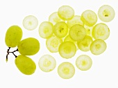 Green grapes, whole and sliced