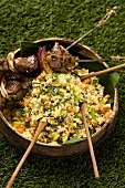 Lamb kebab with hirse tabbouleh