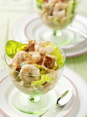 Shrimp cocktail with croutons