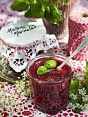 Raspberry jam with basil