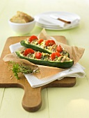 Stuffed, backed courgettes