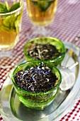 Tea in a green bowl