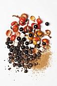 Guaranas (paullinia cupana), seeds and powder