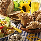 Sunflower seed rolls, salad and sunflower seeds